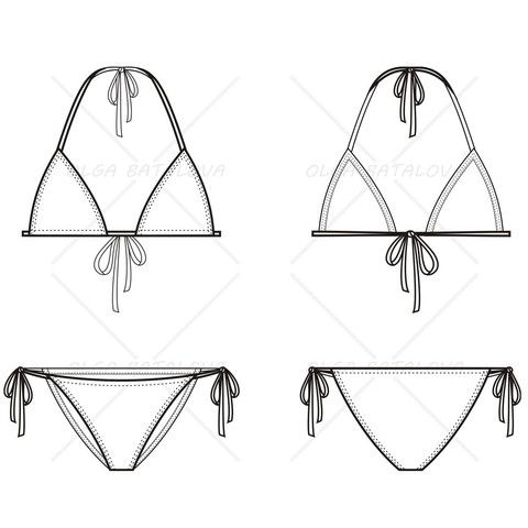 Women\'s Triangle Bikini Fashion Flat Template | Sewing | Pinterest ...