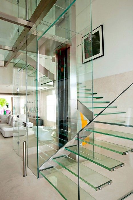 Looks so fragile - transparent glass stairs
