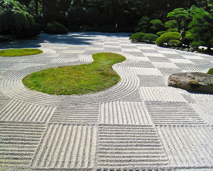 Good Flat Garden (hira Niwa) Sand Racked For Moon Viewing Festival (O Tsukimi)  In Checker Board Pattern In The Portland Japanese Garden. By Chris Bidleman.