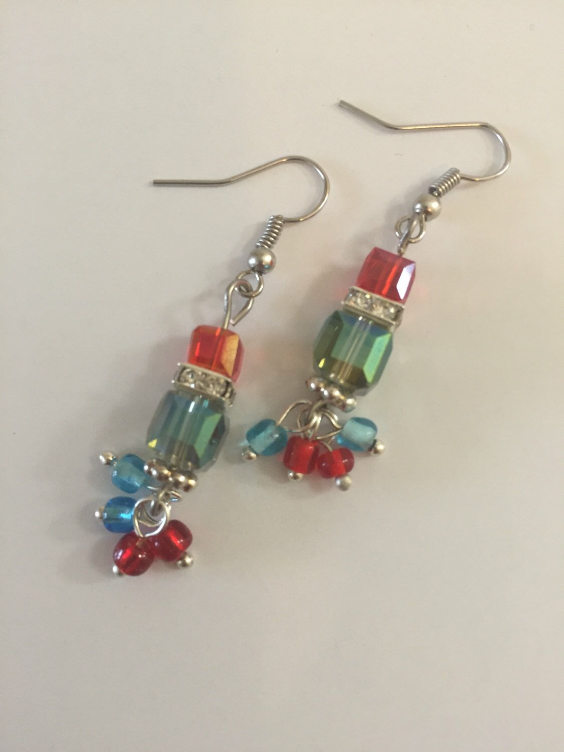 A personal favorite from my Etsy shop https://www.etsy.com/listing/249298066/earrings-t-green-red-cube-earrings-cube