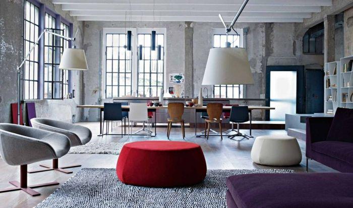 wohnzimmer grau loft wohnung mit frischen farbigen akzente - wohnung in grau