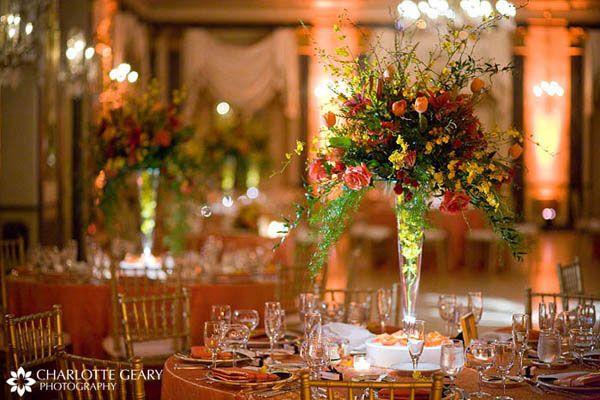 Autumn wedding centerpieces with orange yellow and red - Yellow and orange wedding decorations ...