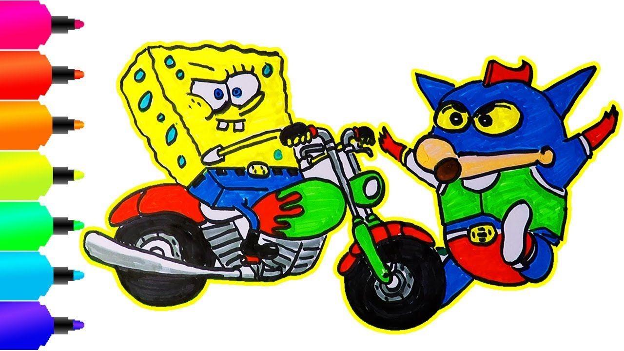 Cara Menggambar Dan Mewarnai Spongebob Bersepeda Motor Dihentikan