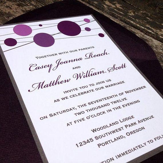 Fun and Modern Wedding Invitation Aubergine by FreshPaperStudios - fresh invitation samples template