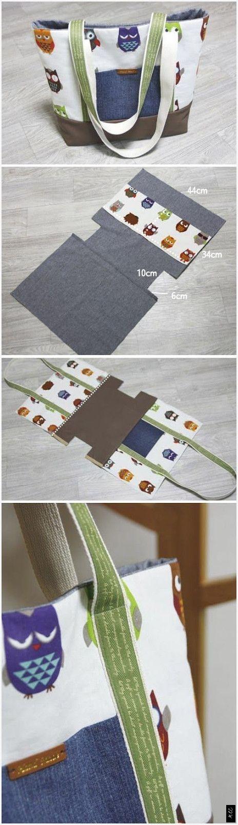 Sac fourre-tout simple en toile avec poche. Tutoriel de bricolage étape par étape. www.hand …   – Stoff Handwerk