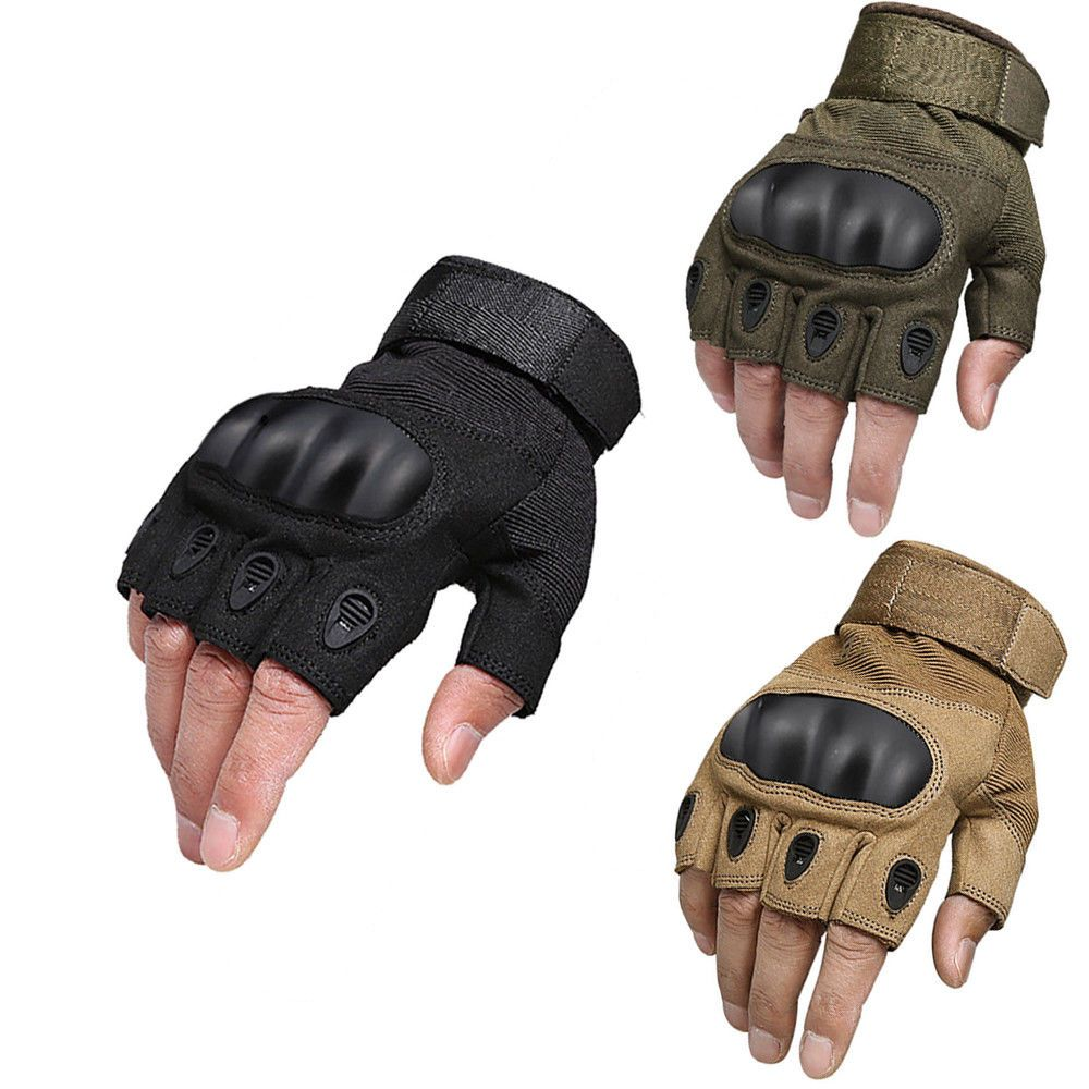 Hard Knuckle Half Finger Gloves Paintball Tactical Motorcycle Fingerless Mittens