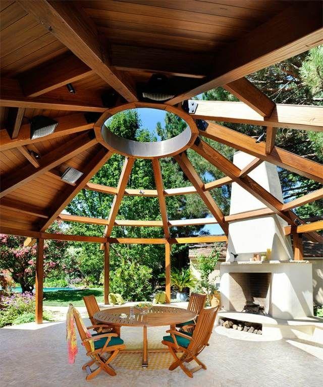 gartenpavillon holzdecke kamin essplatz ideen gestalten - Deck Ideen Mit Kamin