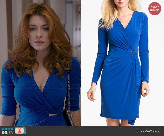 Louise's blue wrap dress on Revenge.  Outfit Details: http://wornontv.net/40571/ #Revenge