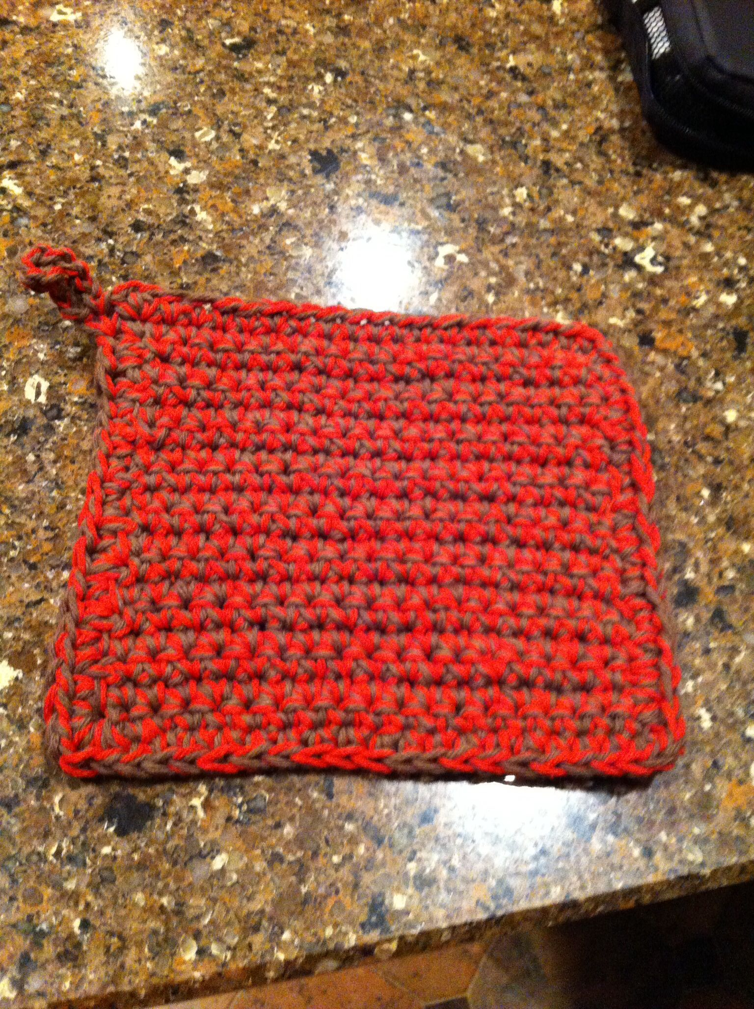 potholder hot plate made in country red and medium brown cotton