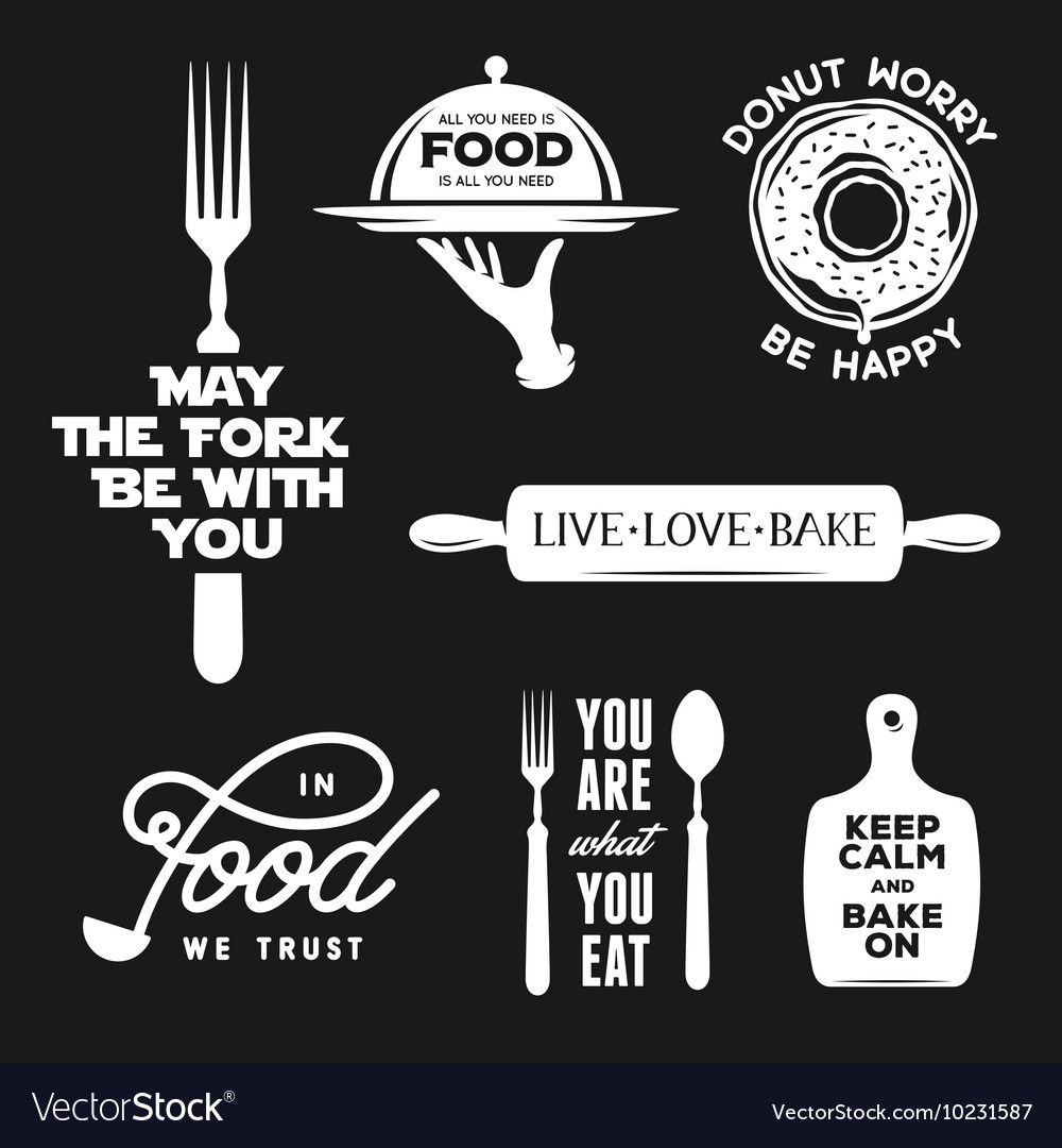 Food Related Typography Set Quotes About Cooking Vector Image On Vectorstock Cooking Quotes Humor Cooking Quotes Food Quotes Funny