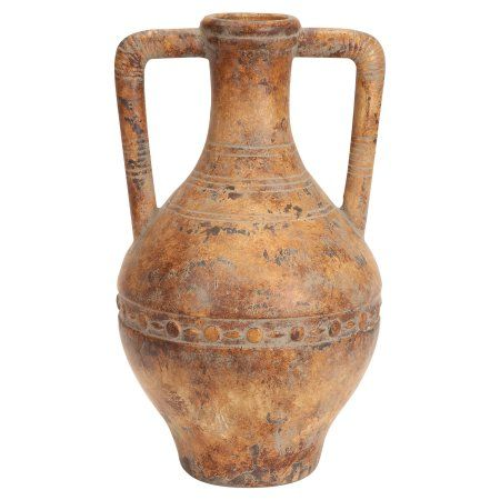 Decmode Ceramic Tuscan Urn, Gold
