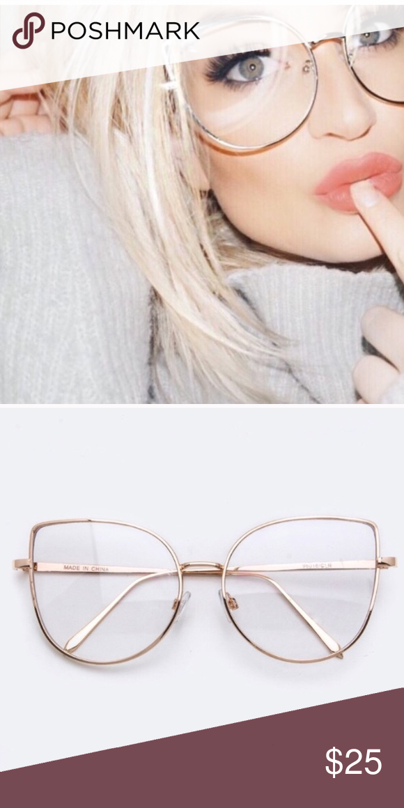 bec318a7f89 Cat Eye Oversized Glasses - Vintage Vintage Oversized Cat Eye Glasses  Hipster Look - Gold Frames - Clear Lens - Comfortable   Hipster - NEW!