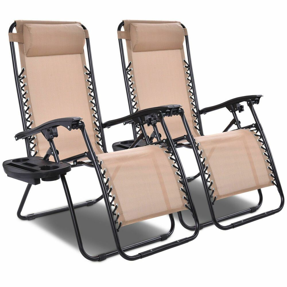 Lounge Chairs Folding Recliner (Set of Two) Zero Gravity
