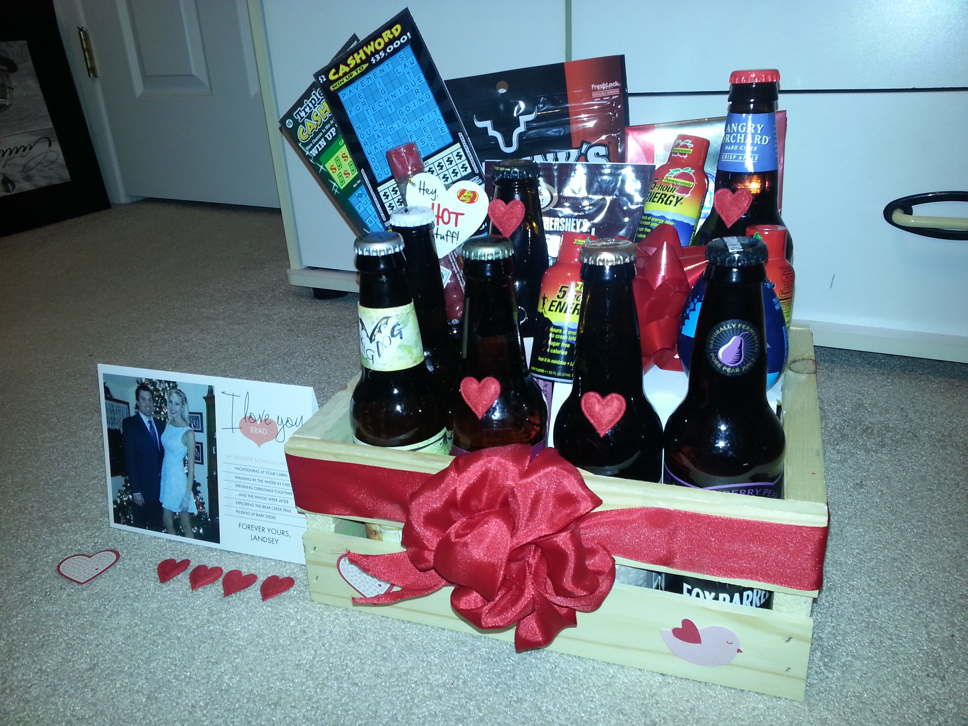 Best 25 beer gift baskets ideas on pinterest baby boy gift diy custom craft beer gift basket for valentines day cardstore solutioingenieria Image collections