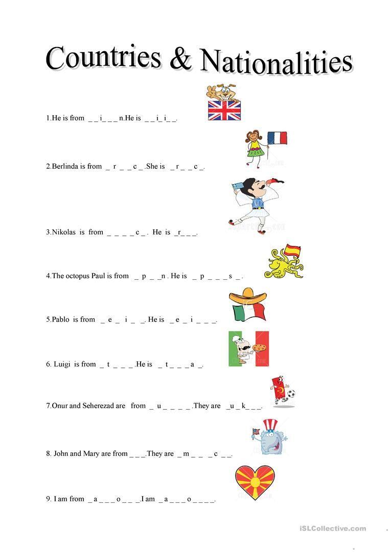 Countries Nationalities Ensino Infantil Atividades De Ingles