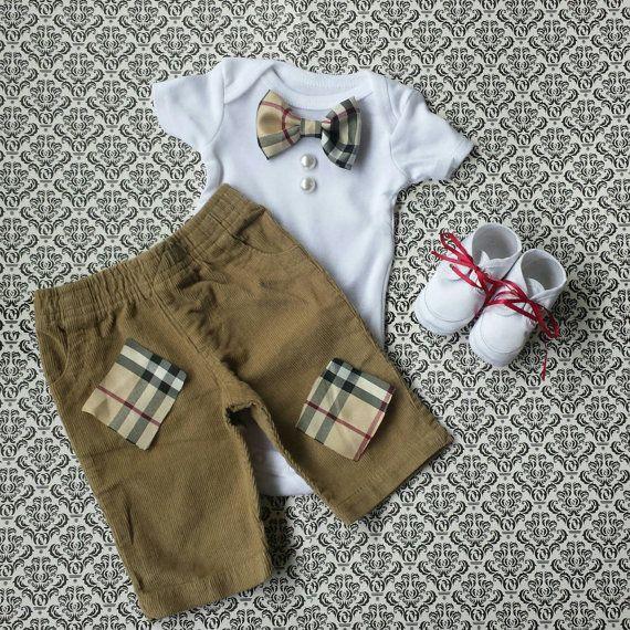 Baby Boy Newborn Take Home Outfit Black Ecru by LeopardLaceLove