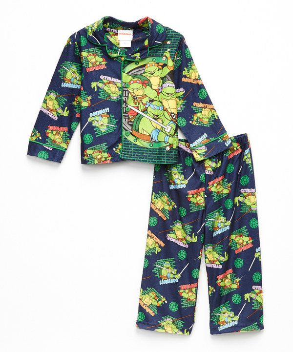 Look at this Navy Button-Up Teenage Mutant Ninja Turtles Pajama Set - Toddler on #zulily today!