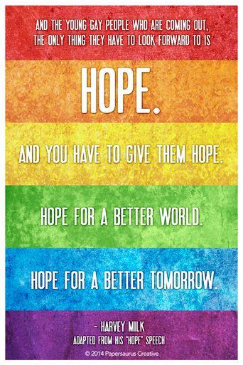 Hope Harvey Milk Rainbow Gay Pride Art Print From