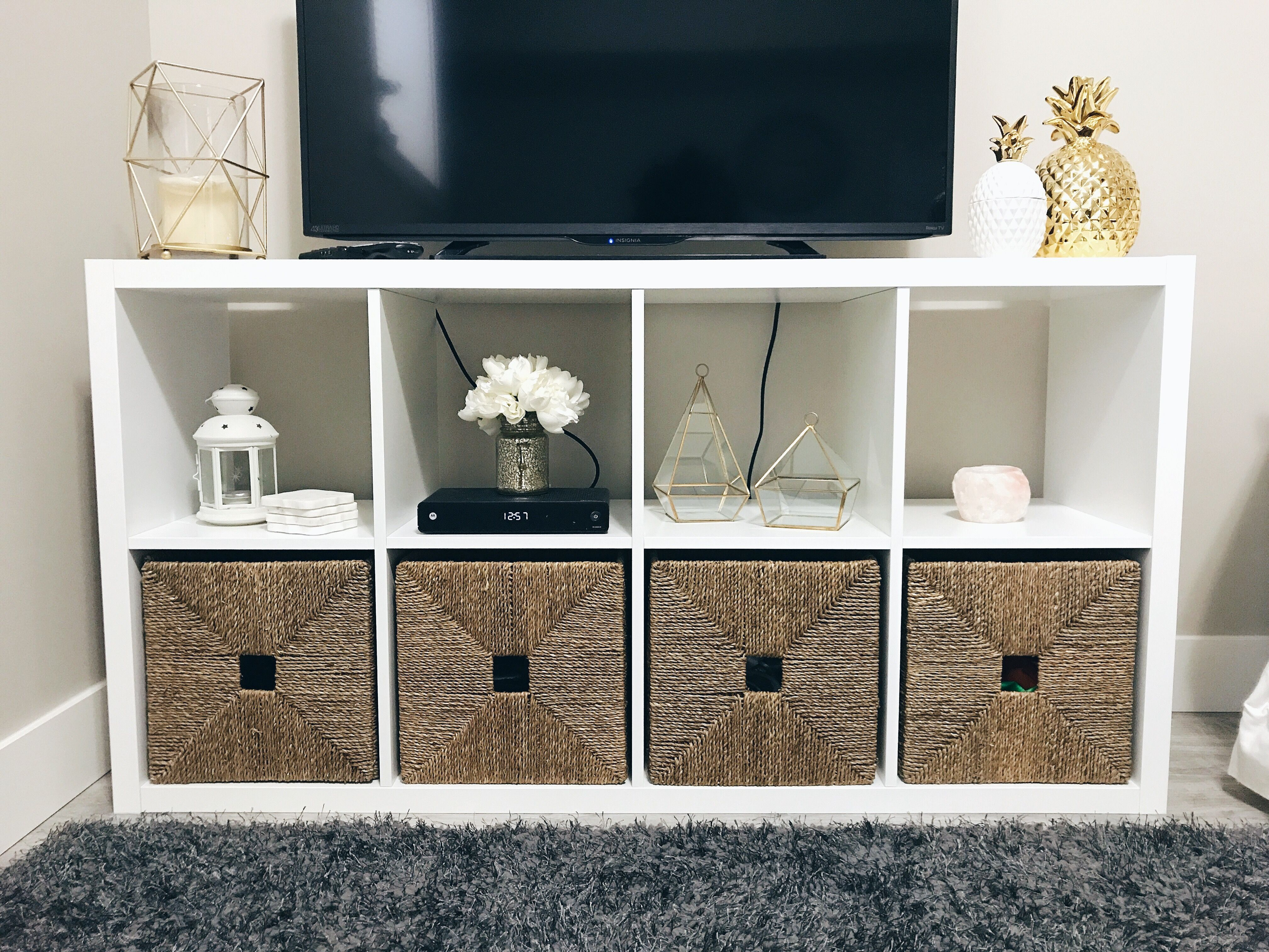 Kallax Shelving From Ikea Used As A Tv Stand Featuring Knipsa