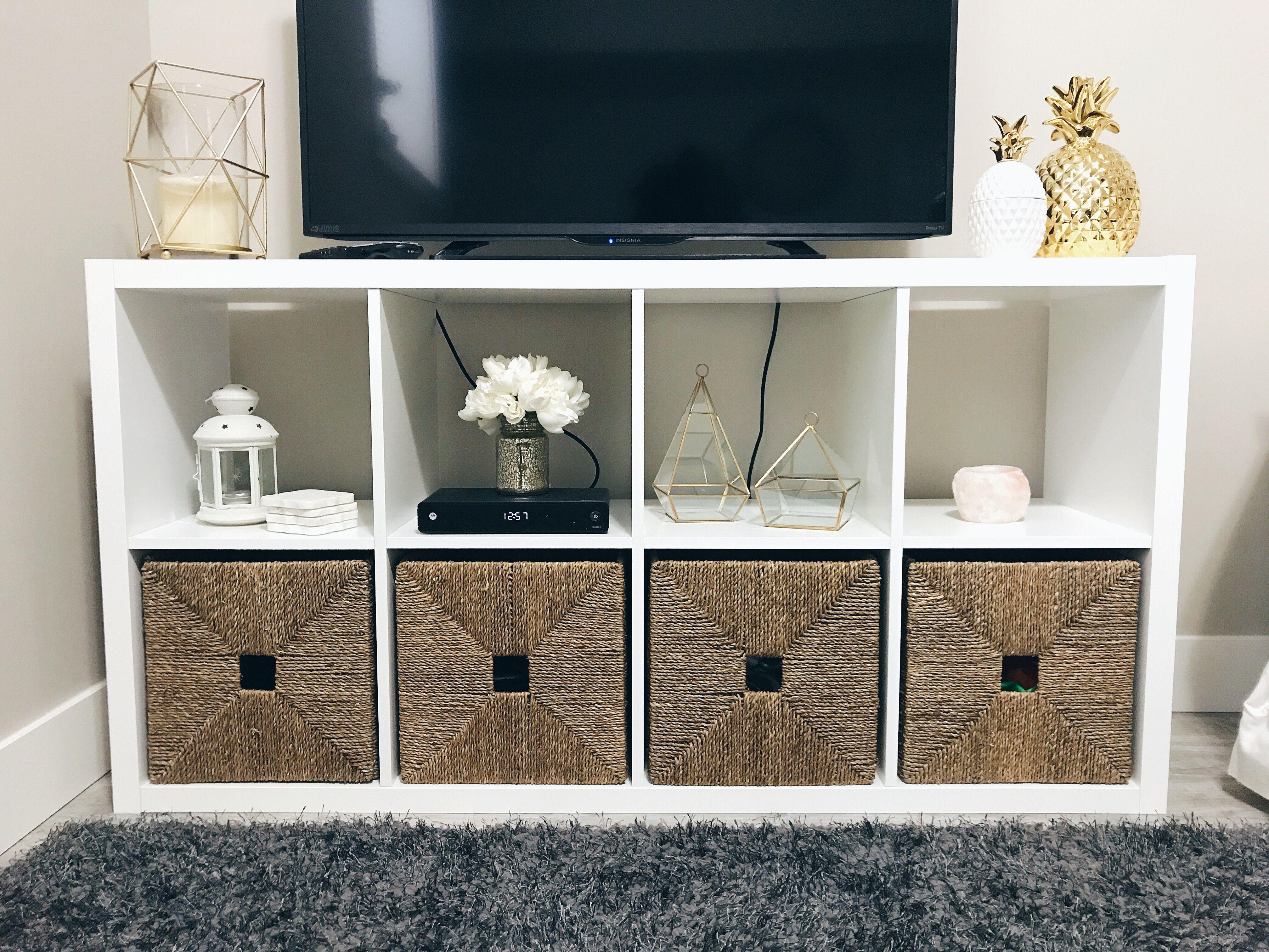 Kallax Shelving From Ikea Used As A Tv Stand Featuring Knipsa  # Meuble Tv Kallax