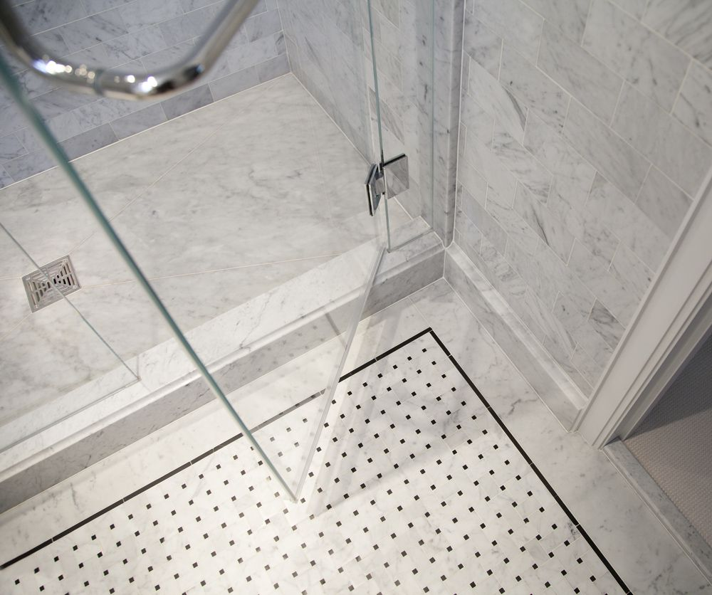 The Corner Area Of The Floor, Where The Base Molding Enclosure Frame And  Shower Curb