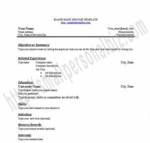 Free Printable Blank Resume Templates In Word For Students Or