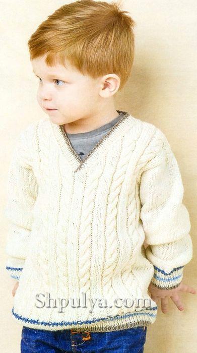белый пуловер с косами для мальчика вязаный спицами вязание