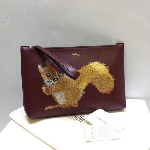 ec1b22f91a 2017 Cheap Mulberry Squirrel Large Pouch Oxblood Smooth Calf Leather ...