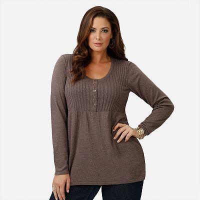 kohls plus sizes for women | daisy fuentes ribbed babydoll sweater