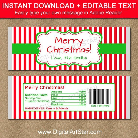 Personalized Candy Bar Wrapper Christmas, Printable Chocolate Bar