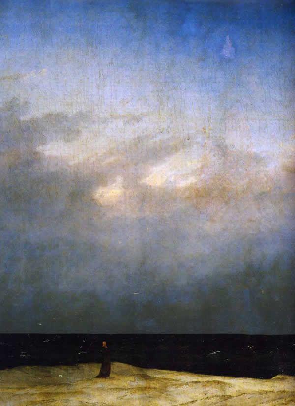Caspar David Friedrich Monje En La Orilla Del Mar 1809 1810 Los Paisajes Solitarios Y Melancólicos Fueron Un Tema Desarrollado Por El Art Arte Romántico Producción Artística Y Arte Moderno Contemporaneo
