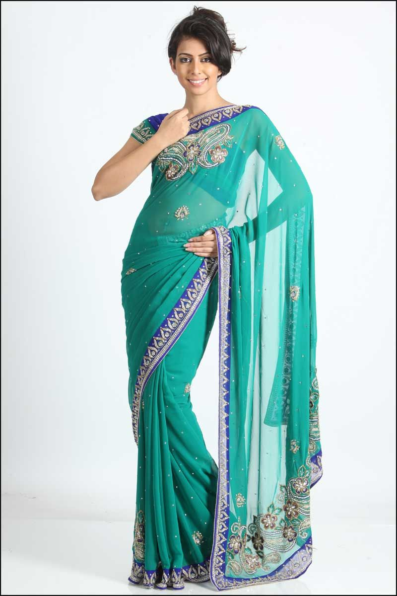 Designer border work saree fashion indian style pinterest