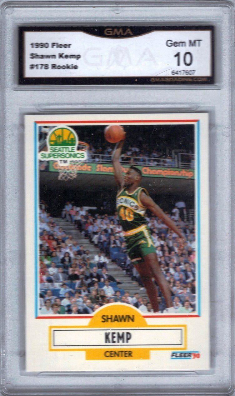 1990 Fleer 178 Shawn Kemp Rookie Card, Grade 10 GEM MINT
