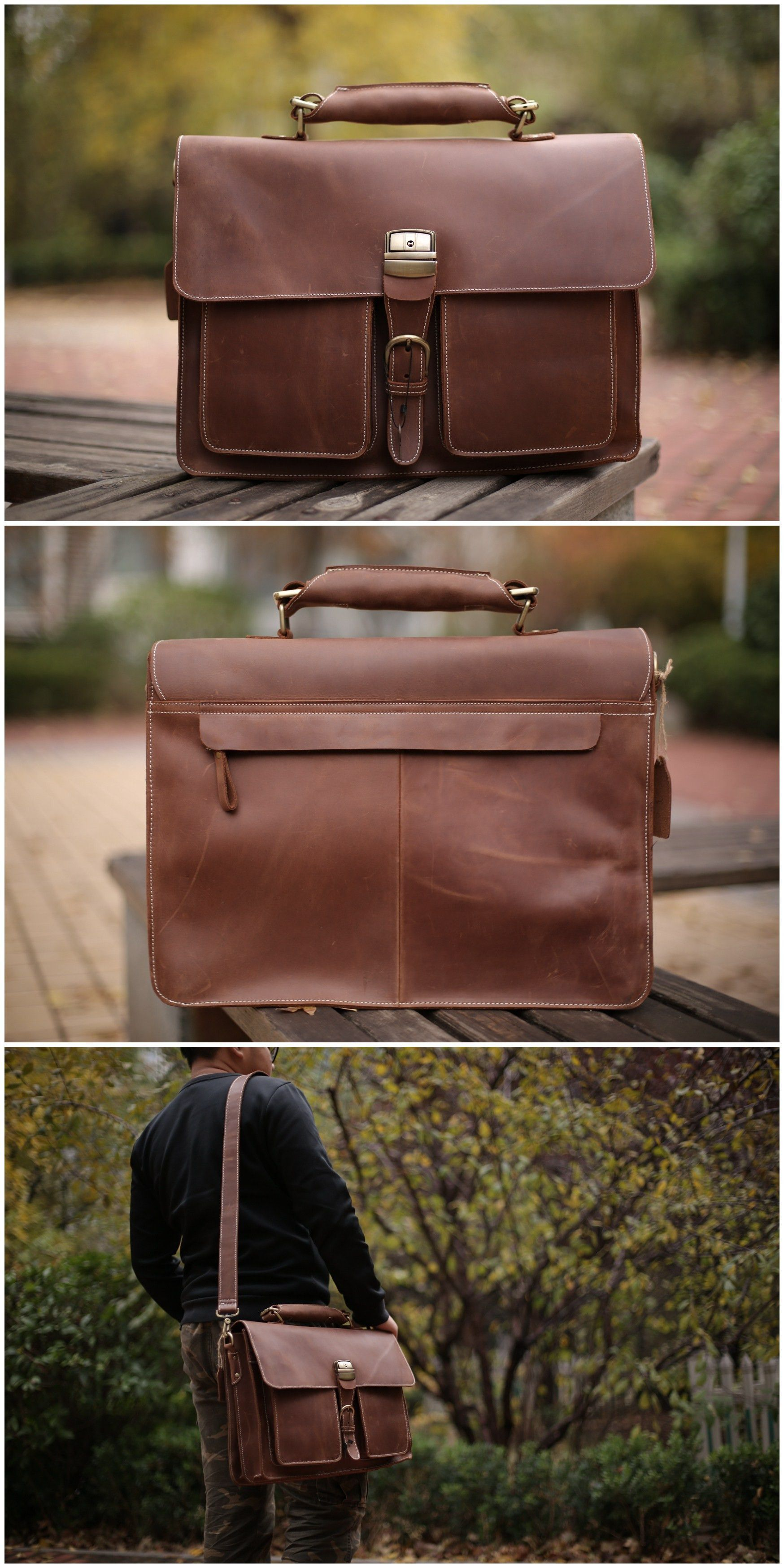 8149356ec079 Leather Briefcase Messenger Bag Shoulder Bag Men Handbag