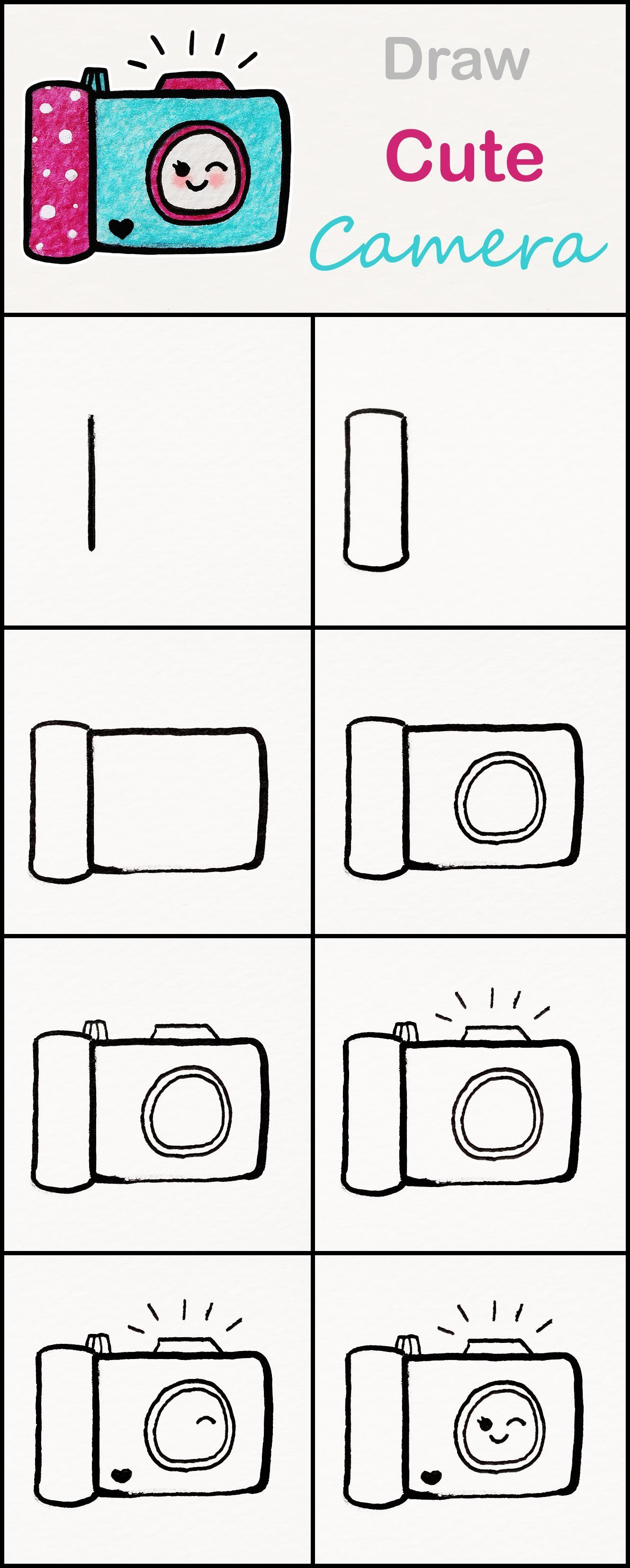 Learn How To Draw A Cute Camera Step By Step Very Simple Tutorial Camera Drawings Kawaii Tutorial Artdrawi Camera Drawing Cute Easy Drawings Cute Camera
