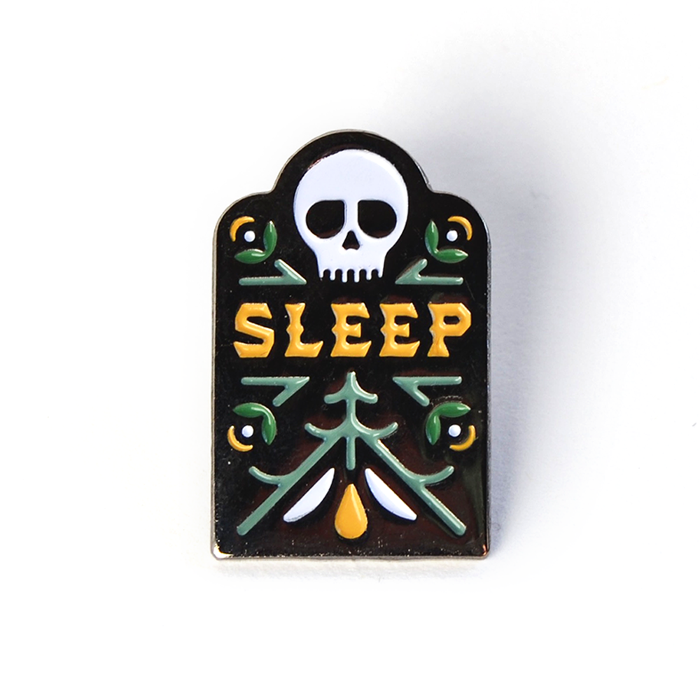 This soft enamel pin has black nickel plating with a 4-color