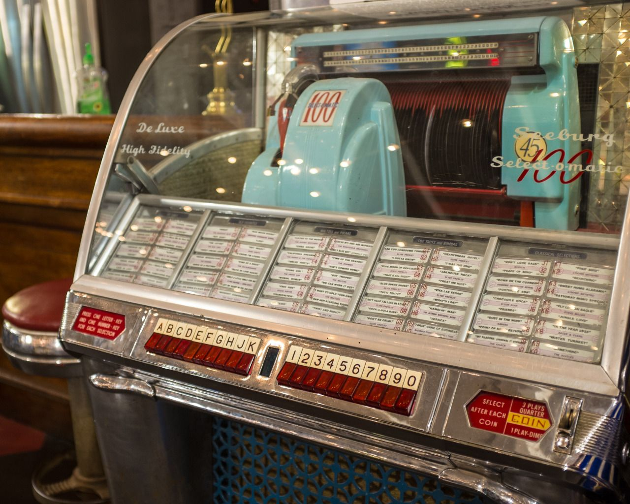 """1957 Seeburg Select-o-matic (as used in """"Happy Days"""")Asbury Park boardwalk, New Jersey USA"""