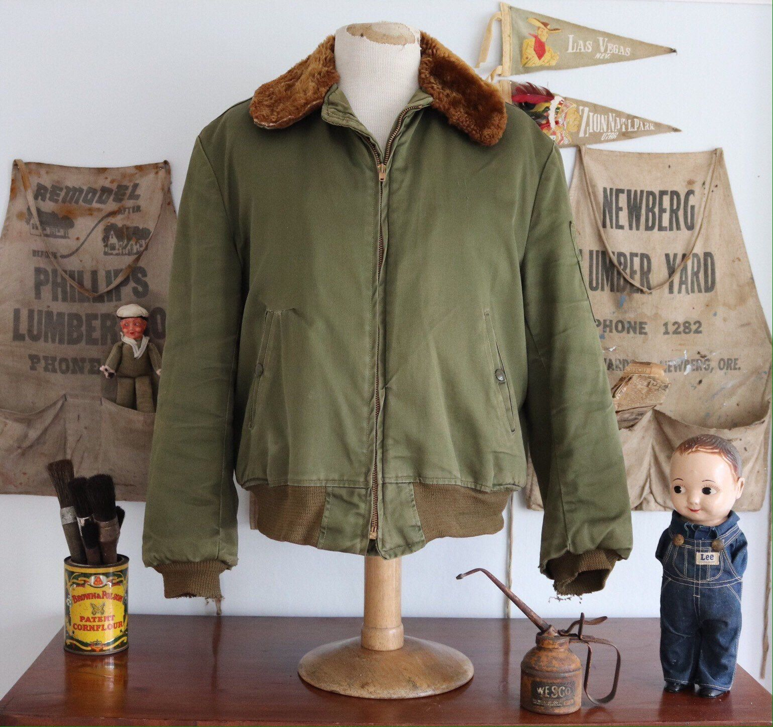 Reserved Vintage 1950s 50s Khaki Green Us Army B15 B 15 Bomber Etsy Khaki Green Bomber Jacket Menswear [ 1447 x 1539 Pixel ]