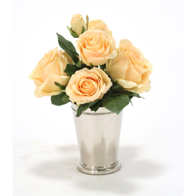 distinctive designs furniture. Distinctive Designs 7631 Silk Yellow Roses In A Silver Mint Julep Cup Furniture