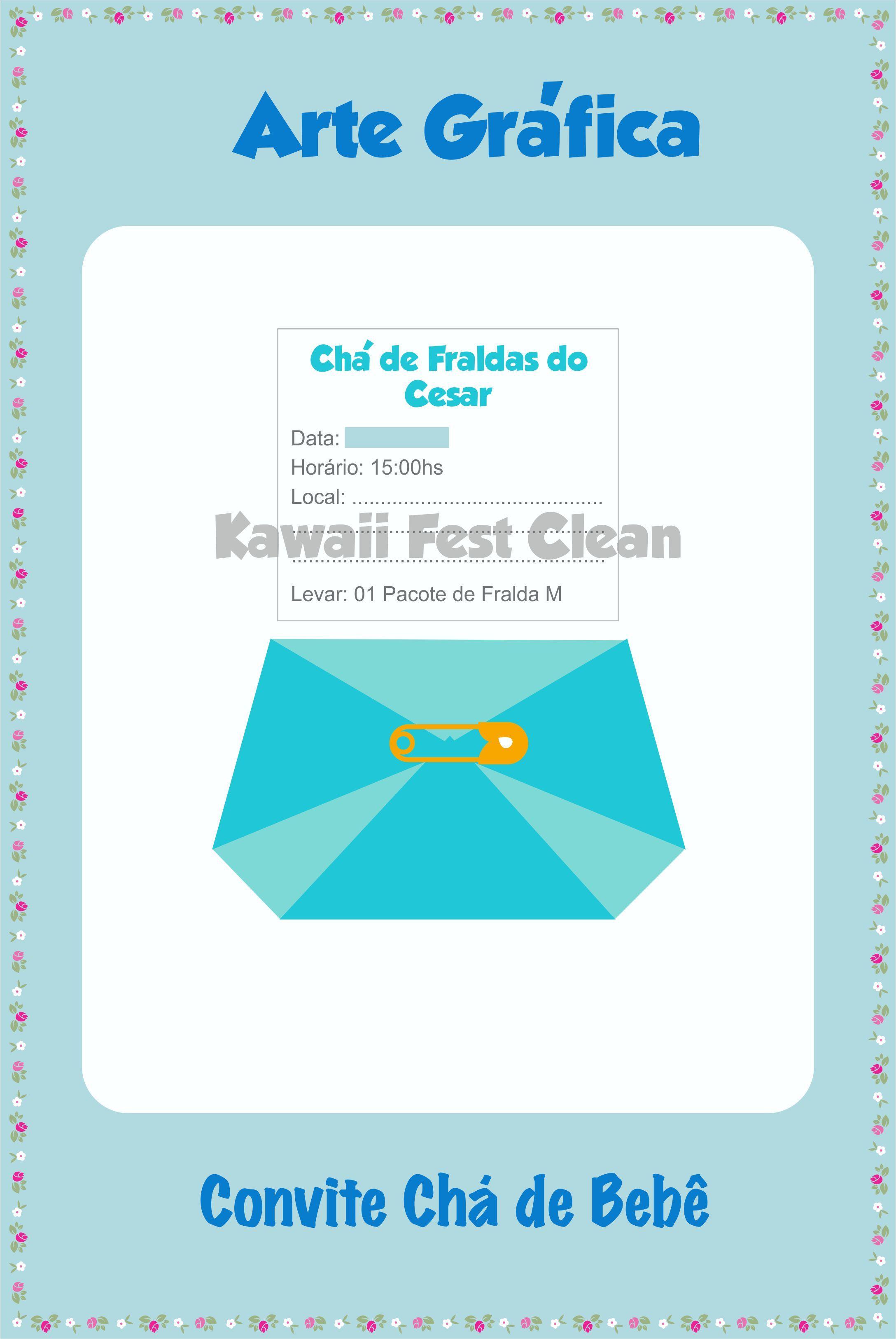 Kawaii Fest Clean Graphic Arts Pinterest Convites Chás De Bebê