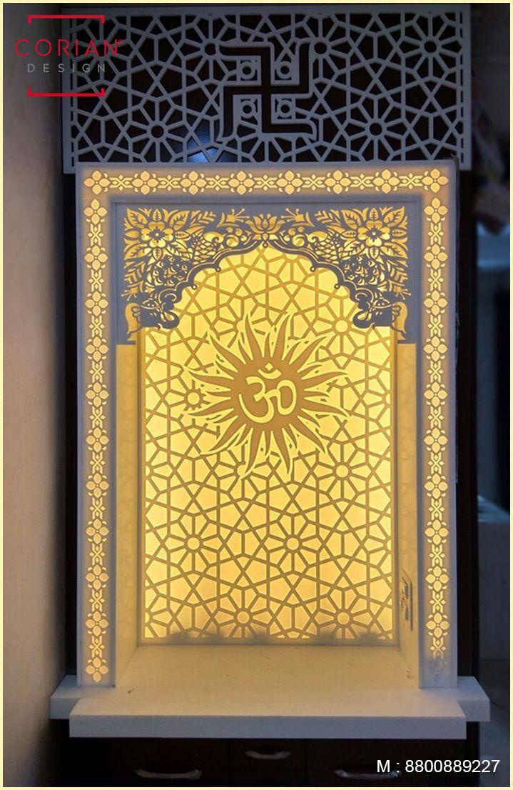 Om Design Corian Temple With Led Backlit Dupont Temple Design For Home Pooja Room Door Design Pooja Room Design