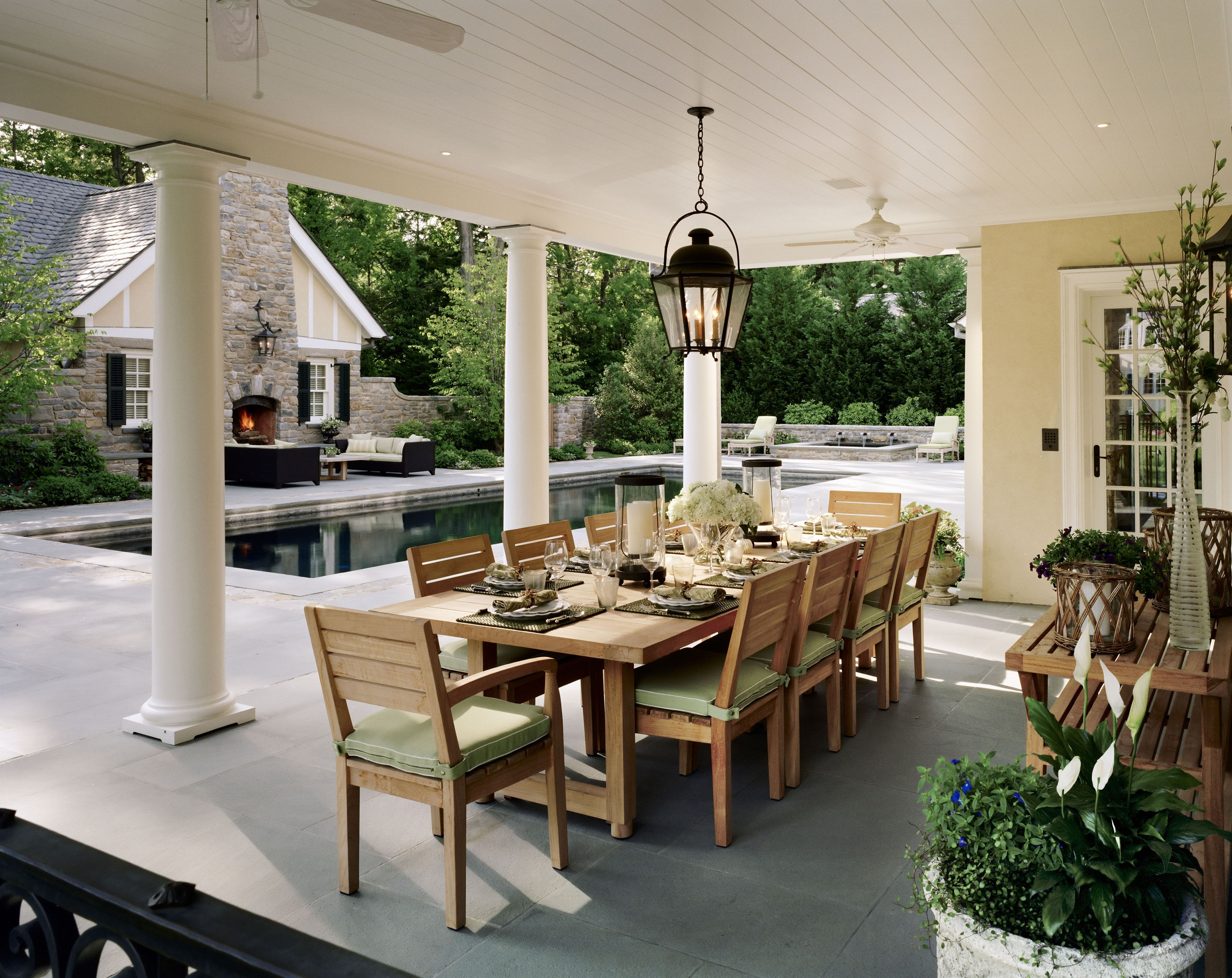 Westchester Stucco Colonial Dining Porch