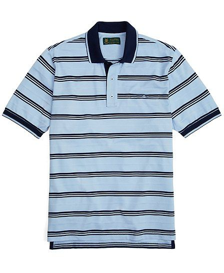 st andrews links placed stripe polo light blue navy