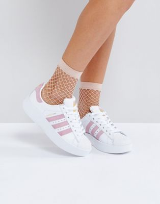 adidas Originals - Superstar - Baskets à semelle audacieuse - Blanc et rose