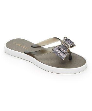 Look at this #zulilyfind! Black Glitter Bow Flip-Flops #zulilyfinds