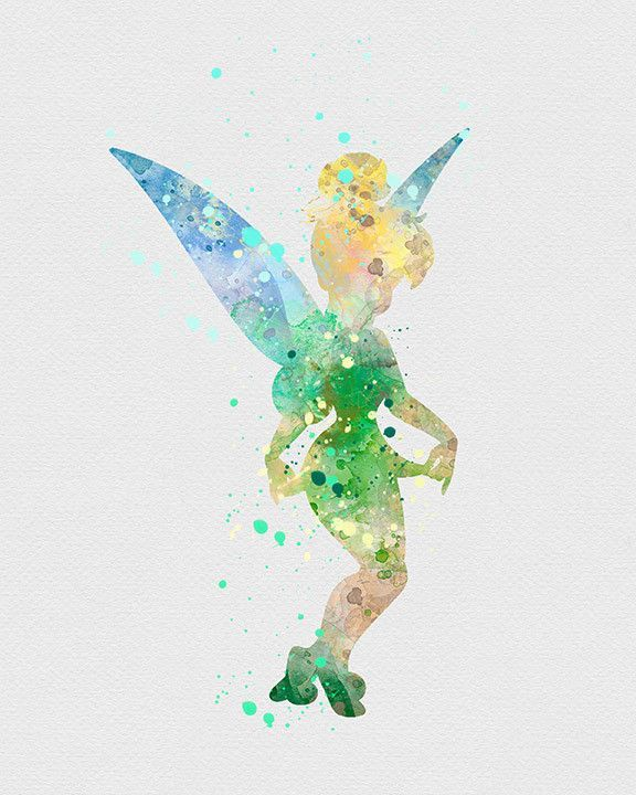 Tinkerbell 2 Watercolor Art Print Watercolor Disney Disney