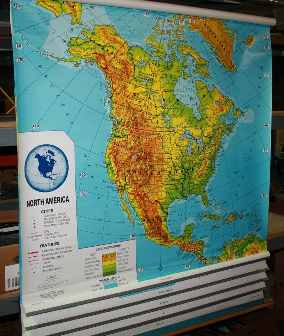 vintage crams 5 in 1 pull down map north america south by Atlantel
