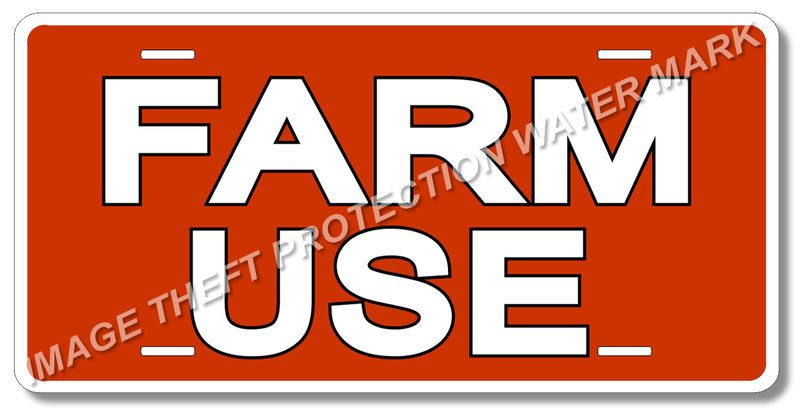 """FARM USE Vehicle Tractor License Plate 100% Aluminum New 6"""" x 12"""" Red Color"""