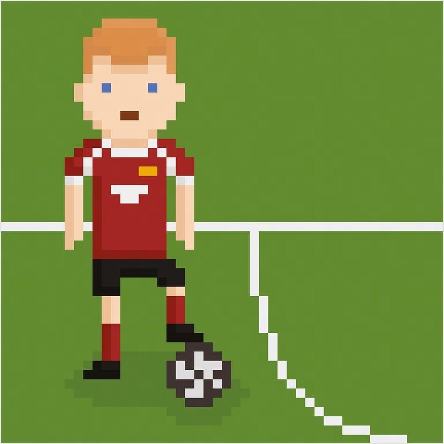Coloriage Et Illustration D Un Footballeur Sur Son Terrain En Pixel