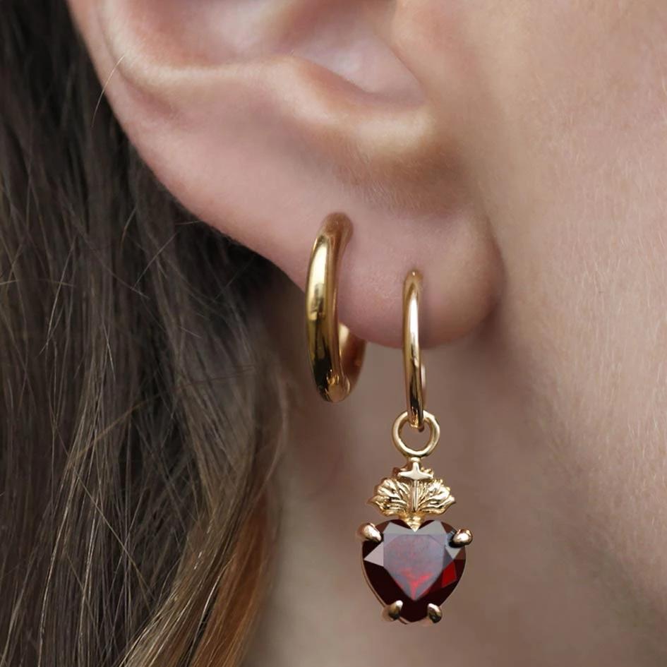 The Sacred Heart Garnet Earrings - Gold